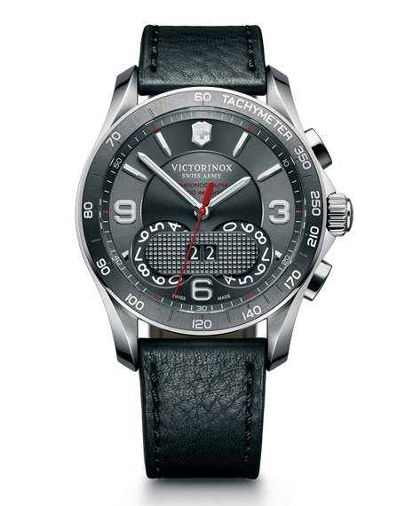 Classic Chronograph Watch with Leather Strap, Gray/Black
