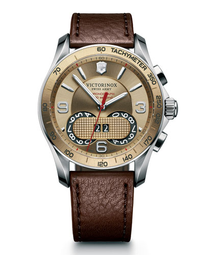 Victorinox Swiss Army Classic Chronograph Watch with Leather Strap, Brown