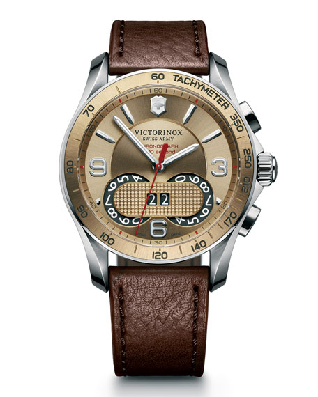 Classic Chronograph Watch with Leather Strap, Brown