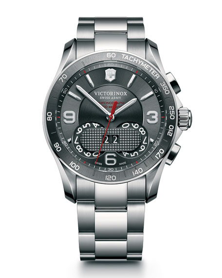 Classic Chronograph Watch with Bracelet, Gray