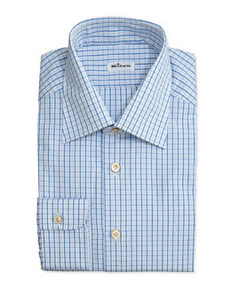 Kiton Box-Check Dress Shirt, Blue