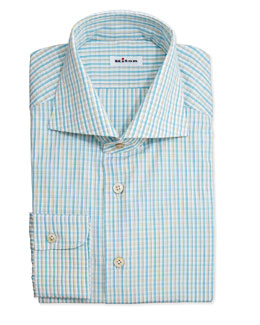 Kiton Plaid Woven Dress Shirt, Yellow