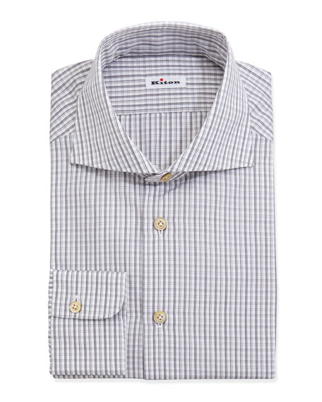 Woven Check Dress Shirt, Gray