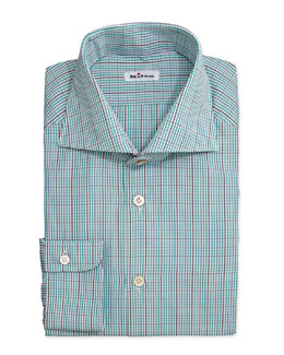 Kiton Tattersall Woven Dress Shirt, Green