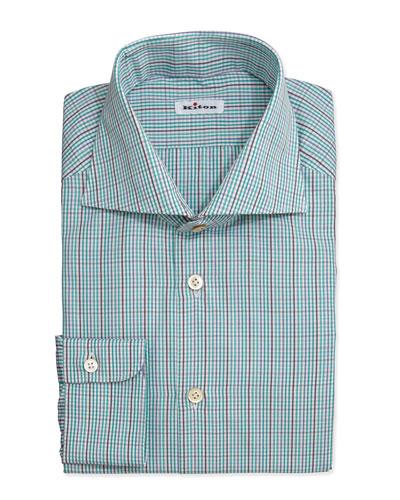 Kiton Tattersall Woven Dress Shirt, Green