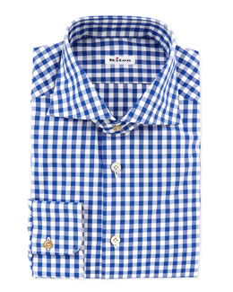 Kiton Large-Gingham Dress Shirt, Blue
