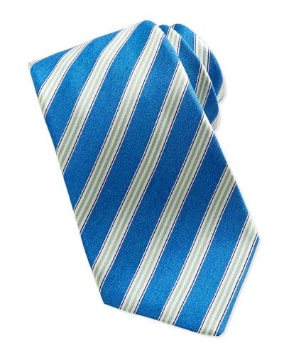 Kiton Woven Track-Stripe Tie, Blue