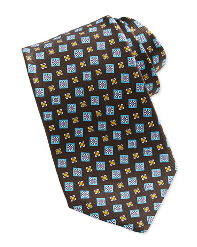 Kiton Tossed Squares Neat Printed Tie, Brown