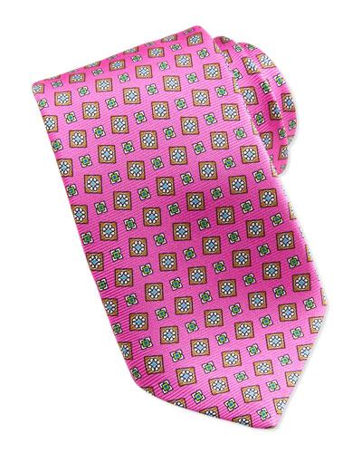Kiton Tossed Squares Neat Printed Tie, Pink
