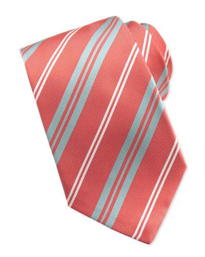 Kiton Printed Track-Stripe Tie, Coral