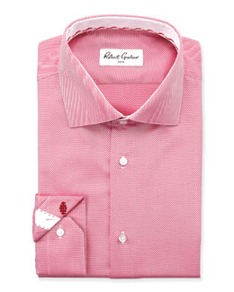 Robert Graham Lambert Herringbone Dress Shirt, Berry