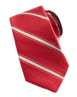 Robert Graham Rope-Stripe Silk Tie, Red