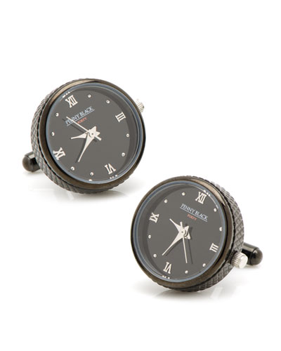 Blackened Silver Working Watch Cuff Links