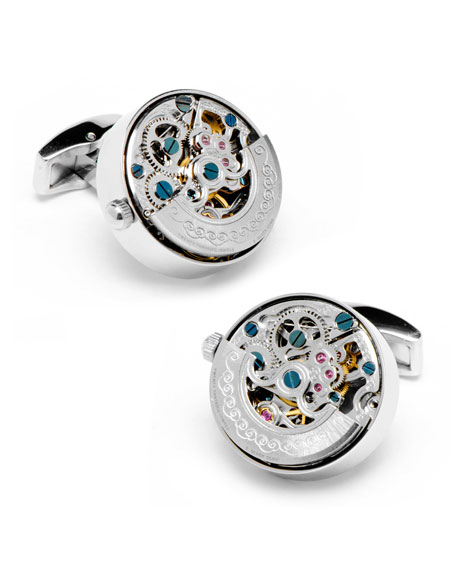 Kinetic Watch Movement Cuff Links