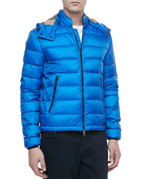 Quilted Nylon Puffer Jacket, Blue
