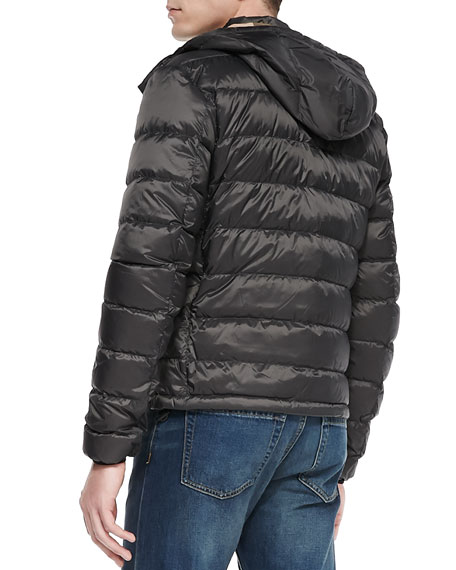 Hooded Quilted Puffer Jacket, Gray
