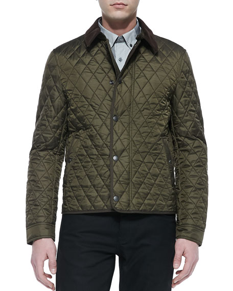 Corduroy-Collar Quilted Nylon Jacket, Olive