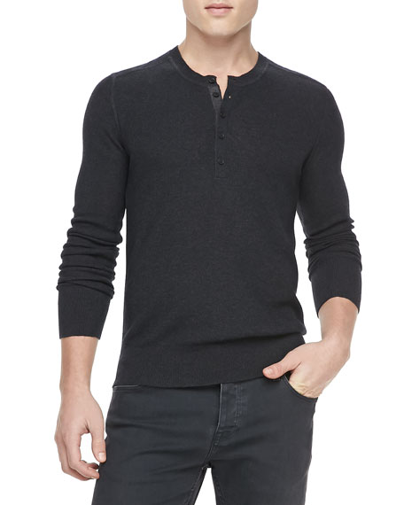 Knit Long-Sleeve Henley, Gray