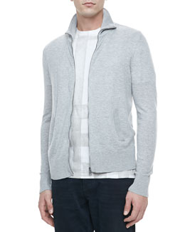 Burberry Brit Full-Zip Cardigan Sweater, Gray
