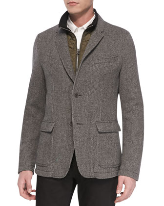 Herringbone Wool Blazer, Dark Gray