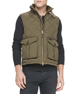 Burberry Brit Military Lightweight Puffer Vest, Khaki