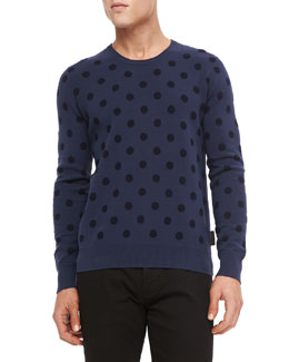 Burberry Brit Cotton-Cashmere Polka-Dot Sweater, Blue