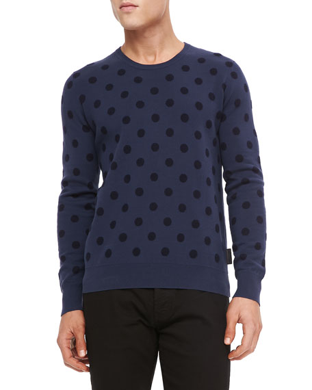 Cotton-Cashmere Polka-Dot Sweater, Blue