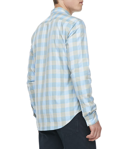 Gingham Check Button-Down Shirt, Pale Blue
