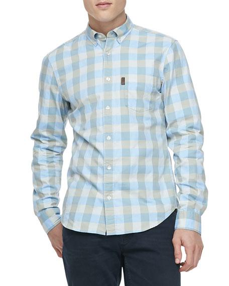 Gingham Check Button-Down Shirt, Pale Blue