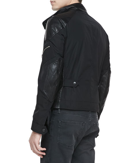 Leather & Nylon Biker Jacket, Black
