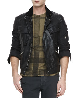 Burberry Brit Leather & Nylon Biker Jacket, Black