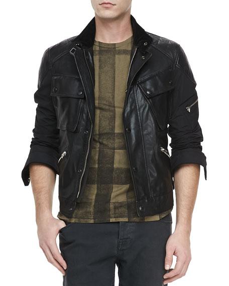 Leather & Nylon Biker Jacket, Black