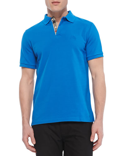 Check-Detail Short-Sleeve Polo, Bright Blue