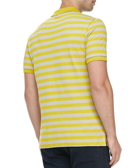 Striped Pique Short-Sleeve Polo, Yellow