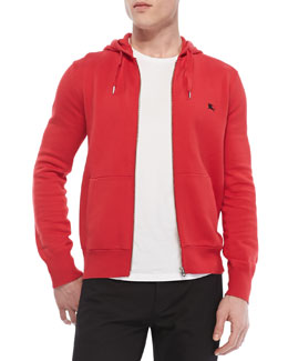 Burberry Brit Knit Full-Zip Hoodie, Red