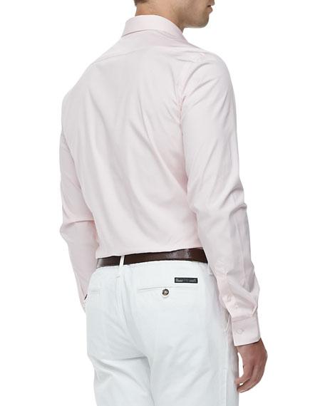 Slim-Fit Stretch-Cotton Dress Shirt, Pale Pink