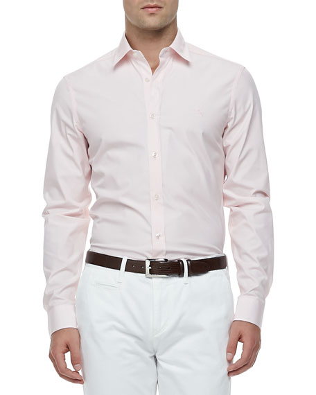 Slim-Fit Stretch-Cotton Dress Shirt, Pale Pink