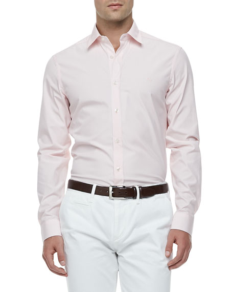 Burberry Brit Slim-Fit Stretch-Cotton Dress Shirt- Pale Pink