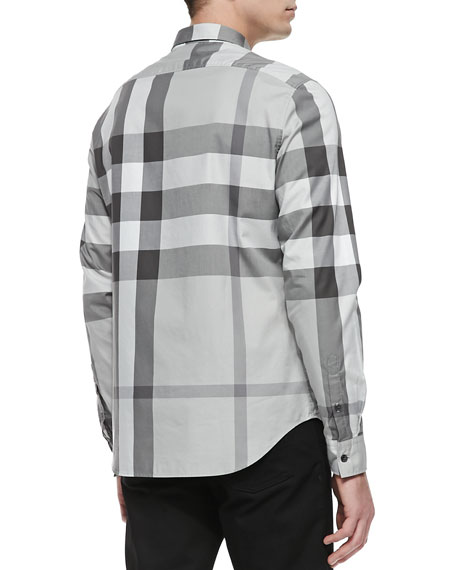 Exploded Check Long-Sleeve Shirt, Gray