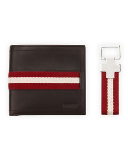 Bally Wallet and Key Ring Gift Set, Chocolate