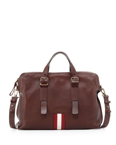 Leather Stripe Business Bag, Brown