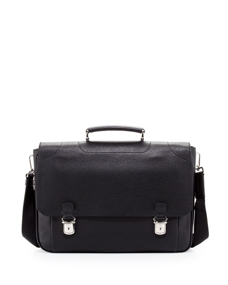 Bally Leather Double-Snap Briefcase, Black