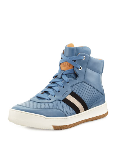 Leather Web-Detail High-Top Sneaker, Blue