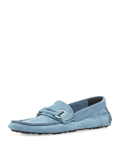 Suede Penny Driving Shoe, Blue
