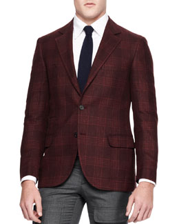 Brunello Cucinelli Plaid Two-Button Sport Coat, Red