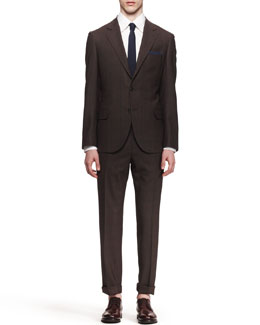 Brunello Cucinelli Three-Button Check Suit, Brown