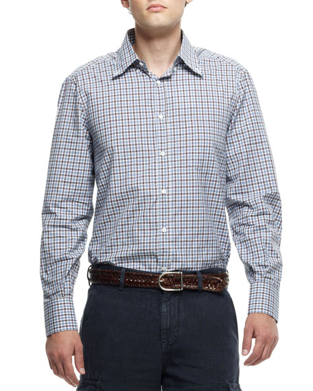Check Button-Down Long Sleeve Shirt, Brown/Blue