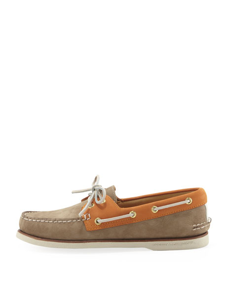 Gold Cup Authentic Original Boat Shoe, Tan/Orange
