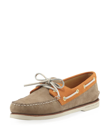 Gold Cup Authentic Original Boat Shoe, Tan/Orange