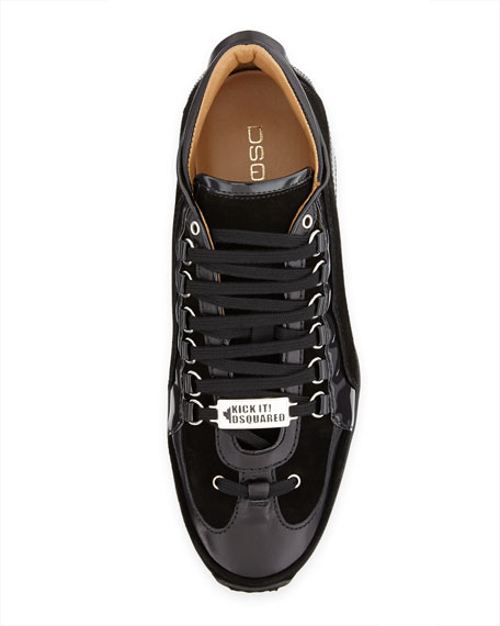 Men's Suede/Patent Kick It! 1964 Low-Top Sneaker, Black